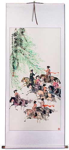 Large Tang Dynasty Polo Players on Horseback Wall Scroll