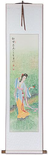 Beauty Asian Woman Wall Scroll
