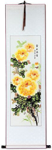 Yellow Peony Flower Wall Scroll