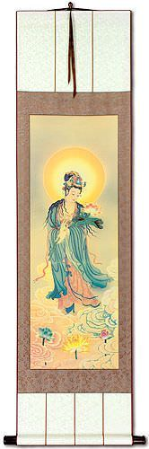 Guanyin Buddha Lotus Embrace<br>Giclee Print<br>Wall Scroll