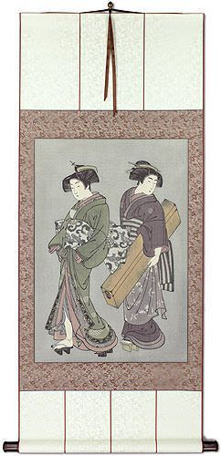 Geisha & Servant Carrying Shamisen - Japanese Print Repro - Large Wall Scroll