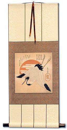 Japanese Crane Woodblock Print Wall Scroll