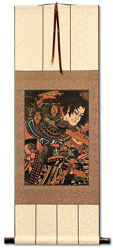 Japanese Samurai Actor Woodblock Print Wall Scroll