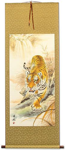 Classic Prowling Asian Tiger Wall Scroll