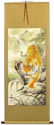 Prowling Chinese Tiger Wall Scroll