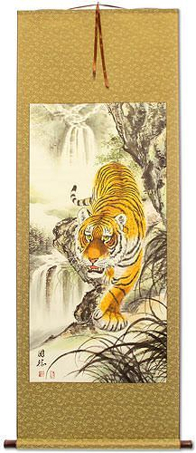 Chinese Tiger on the Prowl - Large Wall Scroll