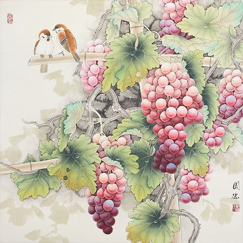 Birds on the Grapevine Painting