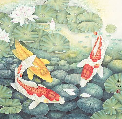 "See how ""Koi Fish Feeding Time Painting"" would look after being professionally framed"