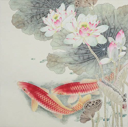 Koi Fish And Lotus Flower Gorgeous Chinese Painting Asian Koi