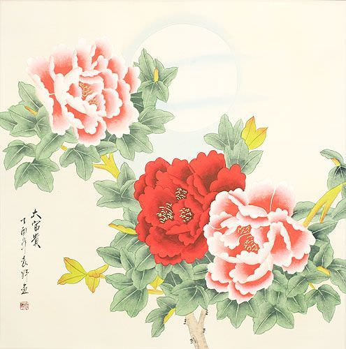 Asian Peony Flower & Moon Painting