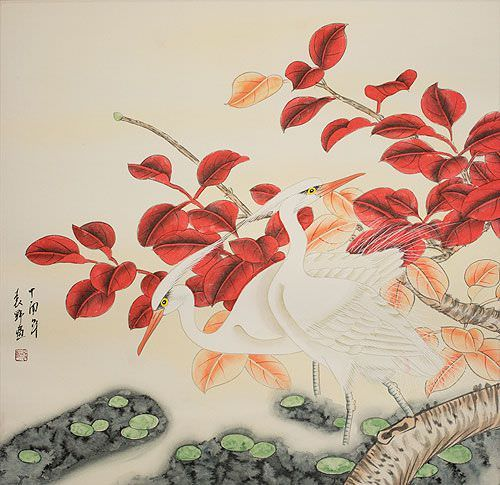 Chinese Egrets Painting