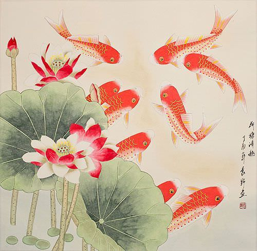"See how ""Large Koi Fish Painting"" would look after being professionally framed"