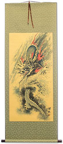 Antique-Style Flying Chinese Dragon<br>WallScroll