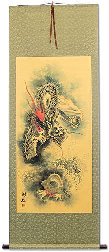 Flying Asian Dragon<br>Asian Wall Scroll