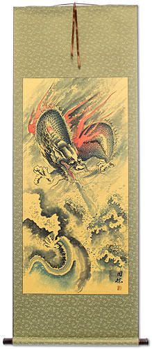 Flying Chinese Dragon and Lightning Pearl<br>Chinese Wall Scroll