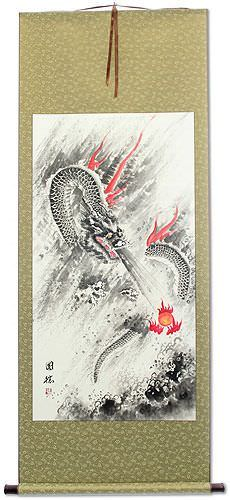 Flying Asian Dragon Lightning Pearl<br>Asian Wall Scroll