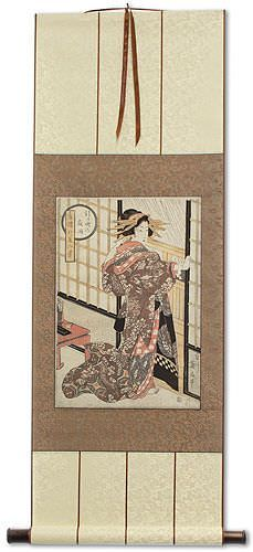Geisha<br>Midnight Rain<br>Japanese Woodblock Print Repro<br>Wall Scroll