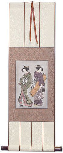 Geisha & Servant Carrying a Shamisen Box<br>Japanese Print<br>Small Wall Scroll