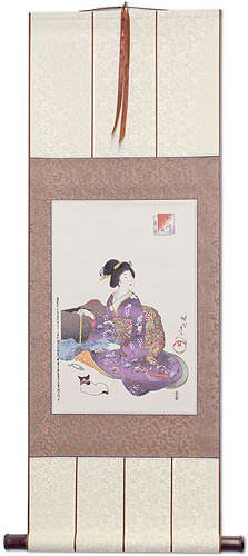 Geisha Woman Sewing - Japanese Woodblock Print Repro - Wall Scroll