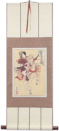 Female Samurai  Hangaku<br>Japanese Woodblock Print Repro<br>Wall Scroll