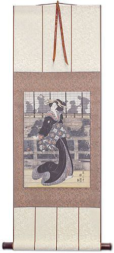 Geisha on the Veranda - Japanese Woodblock Print Repro - Wall Scroll