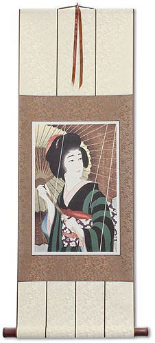 Rain<br>Woman & Parasol<br>Japanese Woodblock Print Repro<br>Silk Wall Scroll