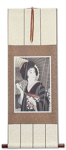 Rain<br>Woman & Parasol<br>Woodblock Print Repro<br>Japanese Scroll