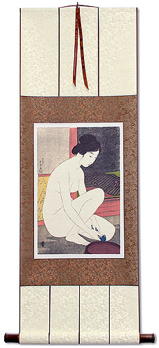 Nude Woman at the Bath<br>Japanese Woodblock Print Repro<br>Silk Wall Scroll
