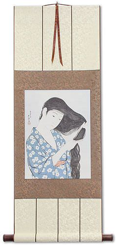 Japanese Woman Combing Hair<br>Woodblock Print Repro<br>Wall Scroll