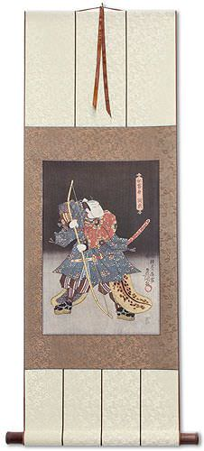 Samurai Saitogo Kunitake - Japanese Woodblock Print Repro - Wall Scroll