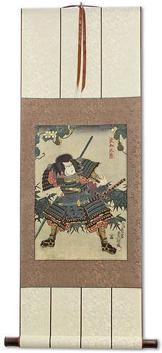 Samurai Takechi Mitsuhide - Japanese Woodblock Print Repro - Wall Scroll