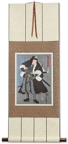 Samurai Kanzaki Yagoro Noriyasu<br>Asian Woodblock Print Repro<br>Wall Scroll