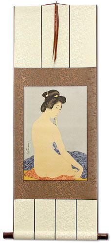 Nude Woman After Bath<br>Asian Woodblock Print Repro<br>Wall Scroll