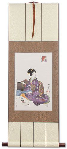 Asian Sewing Lady Wall Scroll