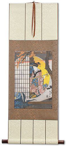 Japanese Geisha Woodblock Print Silk Wall Scroll
