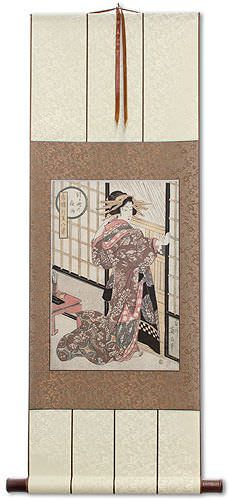 Geisha<br>Midnight Rain<br>Shoji Screen<br>Japanese Woodblock Print Repro<br>Wall Scroll