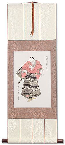 Samurai Actor<br>Japanese Woodblock Print Repro<br>Wall Scroll