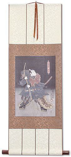 Samurai Warrior Archer<br>Japanese Woodblock Print Repro<br>Wall Scroll
