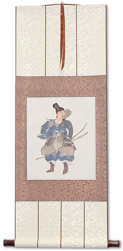 Japanese Samurai Archer Warrior Silk Wall Scroll