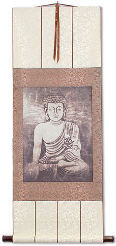 Stone Buddha Print<br>Hanging Scroll