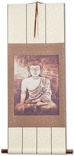 Stone Buddha Print<br>Wall Scroll