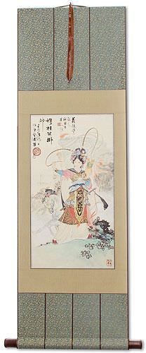 Ancient Chinese Warrior Mu Guiying Wall Scroll