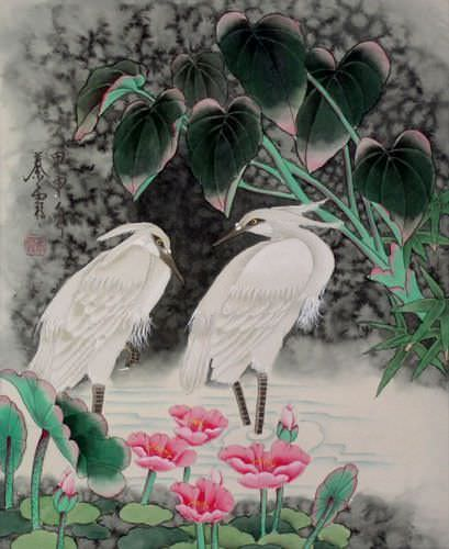 Egrets - Early Morning Dew Painting
