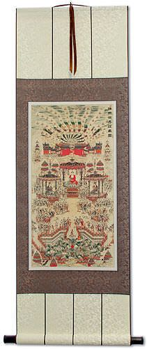 Buddhist Paradise Altar Print<br>Wall Scroll