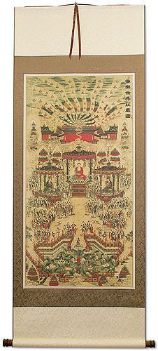 Buddhist Paradise Altar Print<br>Large Wall Scroll