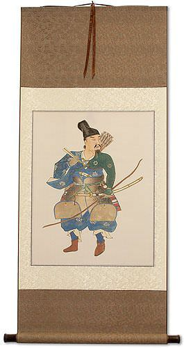 The Noble Archer Warrior<br>Japanese Print Repro<br>Large Wall Scroll