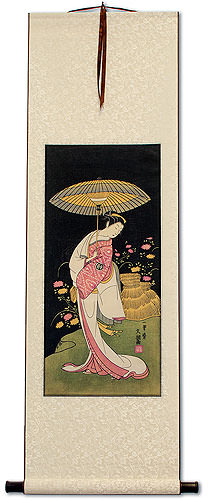 Actress Segawa Kikunojo<br>Japanese Woodblock Print Repro<br>Wall Scroll