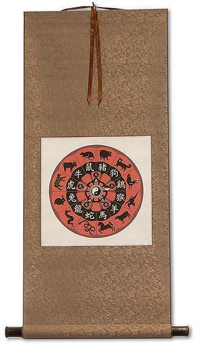 Asian Zodiac<br>Animal Symbols<br>Wall Scroll
