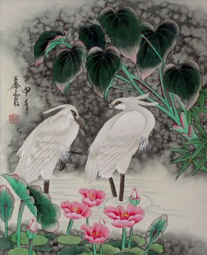 Egrets - Early Morning Dew Chinese Painting