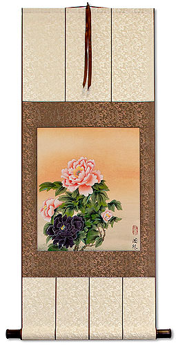 Classic Peony Flowers<br>Asian Wall Scroll